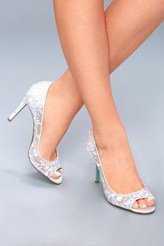 1bb8e6e1f46b Adley Ivory Embroidered Peep Toe Heels