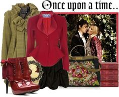 Olive green and red outfit.