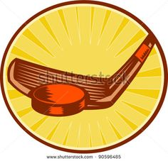 vector illustration of an ice hockey stick hitting a puck set inside circle with sunburst in background done in retro style #hockey #woodcut #illustration