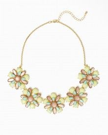 Shop rock candy jewelry.  Large facteted jewel collar necklace. flowers. Gleaming, artful glam piece.