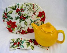 Teapot Cozy Reversible Poinsettia Holly Mistletoe Print White Background Solid Red Tea Cozy! Insulated 6 to 8 Cup Cozy FREE US Shipping by SarahYsCottage on Etsy