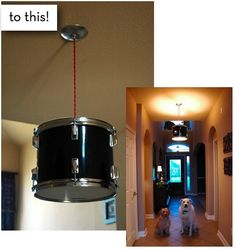 How to turn a drum into... a drum light! @Marilynne Rowland, I wonder if Pop would let us have part of his drum set for this.