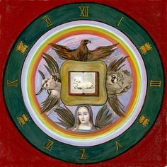 "2. Apocalypse Seal: Tetramorph/Four Living Creatures (the Group Soul) - from the book ""Art Inspired by Rudolf Steiner: An Illustrated Introduction"" by John Fletcher"