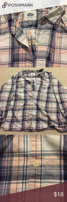 Old Navy Flannel Shirt Blue, white, and pink plaid. Warm and comfy. Old Navy Tops Button Down Shirts