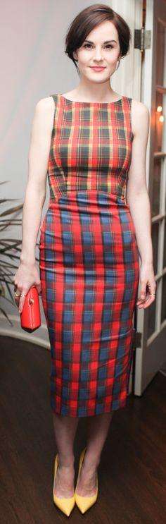 Another case for the plaid cocktail dress: Michelle Dockery in @Joe Jonge Altuzarra