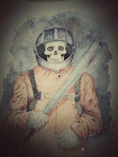 Watercolour paint of dead soviet cosmonaut with a little bit rendering