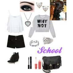 School by cassy-candy on Polyvore featuring Monki, Miss Selfridge, Tinsel, Ash, Steve Madden, David Yurman, Topshop, Bridge Jewelry, Forever 21 and Max Factor