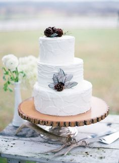 Winter White Wedding Cake with Pinecone and Feather Accents via The Wedding Chicks