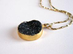 black drusy rock candy necklace