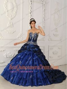 Home :: Ball Gown Dresses :: Navy Blue Ball Gown Sweetheart Chapel ...