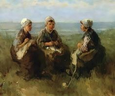 Jozef Israels (Dutch Realist Painter, 1824-1911) Three Woman Knitting by the Sea