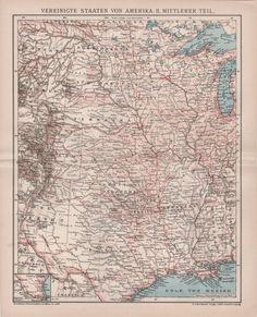 1898 United States Map Montana Wyoming Colorado New Mexico Nebraska Iowa Kansas Dakota Texas Antique Print Vintage Lithograph Old Us Map