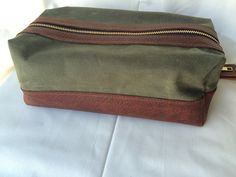 Leather Waxed Canvas Zippered Dopp Kit Ditty Bag Toiletry Bag Mens Gift e71a2e9d40702