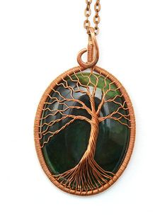 Wire Wrapped Stone Tree-Of-Life Necklace Pendant by KittenUmka