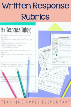 Implementing rubrics and checklists offer students a visual guide and check to completing a written response. Teachers need to refer to the rubric as a guide and model how to use the rubric to improve the written response quality. Using rubrics as a self-check, partner-check and in teacher/student conferences is also another way to implement. This will help students comprehend the components of the rubric which will help them in future written responses.