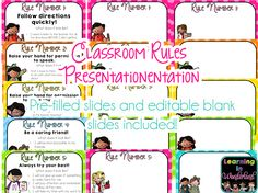 """Learning in Wonderland: Classroom Rules Explaining what each rule """"looks like"""" in a slide show and going over each one with students New Classroom, Classroom Rules, Classroom Displays, Behavior Clip Charts, Behaviour Chart, Classroom Management Strategies, Whole Brain Teaching, Parent Teacher Conferences, Parent Communication"""
