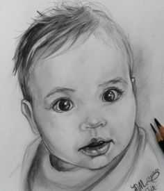 portret copil in creion Pencil Art Drawings, Pretty, To Draw