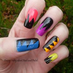 Rainbow Splat Nails nail art by Tracey - Bite no more - Nailpolis ...