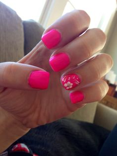 My Hot Pink Nails with Flowers