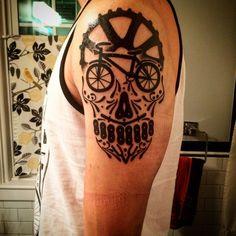 sugar skull bike tattoos – Tattoo Tips Cycling Tattoo, Bicycle Tattoo, Bike Tattoos, Sleeve Tattoos, Future Tattoos, Tattoos For Guys, Tattoos For Women, Cool Tattoos, Calf Tattoo