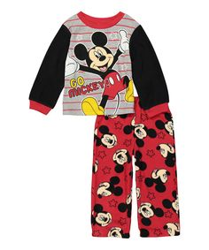 'Go Mickey' Pajama Set - Toddler by AME #zulily #zulilyfinds