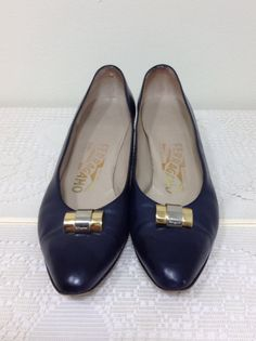 Vintage 80s Salvatore Ferragamo Shoes // Navy Blue // Size 6.5 by BeatificVintage, $22.00