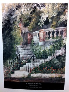 Curved stone steps through rose garden to by CoggeshallArt on Etsy, $9.00