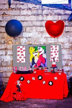 Harley Quinn-inspired dessert table from a Joker Inspired Mad Love Birthday Party via Kara's Party Ideas | KarasPartyIdeas.com - The Place for All Things Party! (4)