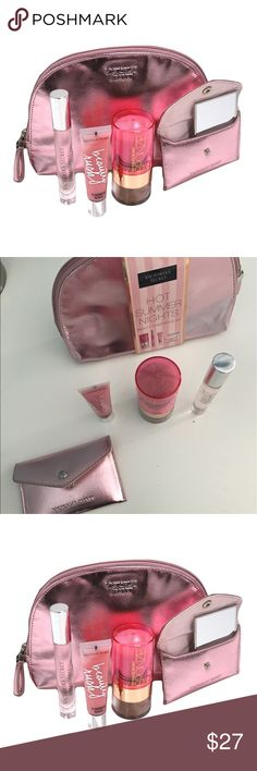 Victoria's Secret Makeup Bag Comes with bag, mirror, roll on perfum, bronzer, and lipgloss. All brand new. Victoria's Secret Bags Cosmetic Bags & Cases