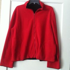 Red fleece sweater Red fleece sweater with full front zipper. Never worn. Sweaters