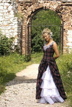 Abigail, Tartan (Plaid) Wedding Dress Clan Maitland --- My clan Tartan Wedding Dress, Scottish Wedding Dresses, Scottish Dress, Scottish Fashion, Tartan Dress, Scottish Kilts, Scottish Clothing, Scottish Plaid, Tartan Mode