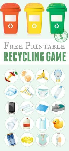 Free printable recycling game for kids. Just print the template, cut the tokens and play! Good for introducing the recycling basics and also as an Earth day activity for kids. Earth Day Activities for Kids Recycling Games, Recycling For Kids, Recycling Bins, Recycling Activities For Kids, Recycling Programs, Earth Day Activities, Science Activities, Earth Day Games, Play School Activities
