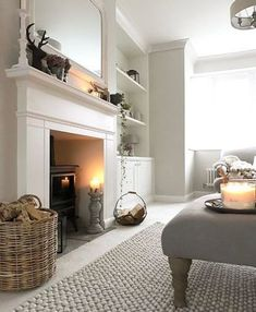 New living room ideas with fireplace grey rugs Ideas New Living Room, Home And Living, Living Spaces, Log Burner Living Room, Cottage Living Room Decor, Cosy Living Room Warm, Living Room With Carpet, Country Living Rooms, Living Room Rugs
