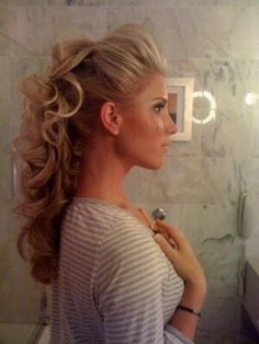 Sexy half updo hairstyle 2015 with curly long hair
