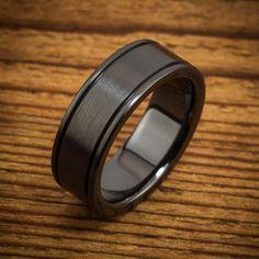 Classic Flanked Edges Black Zirconium Ring