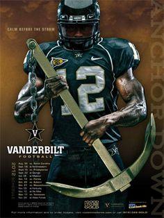 Vanderbilt Football 2012 Poster - Calm Before The Storm. Football Sites, Football Art, Football Photos, College Football, Football Helmets, Football Posters, Sports Posters, Vanderbilt Football, Vanderbilt University