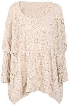 Apricot Long Sleeve Twisted Ball Diamond Patterned Sweater 0.00
