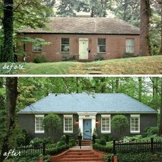 House Exterior Makeover Before And After Brick Ranch Ideas Best Exterior Paint, Exterior Paint Colors For House, Exterior Design, Diy Exterior, Exterior Colors, Ranch Exterior, Siding Colors, Exterior Siding, Exterior Stairs