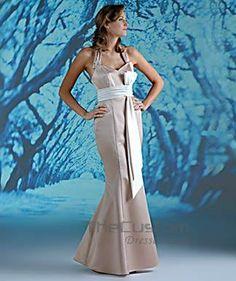 A-line Halter Floor-length Satin Bridesmaid Dresses 10308856