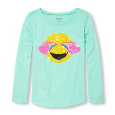 Girls Long Sleeve Embellished Graphic Top - Green - The Children's Place