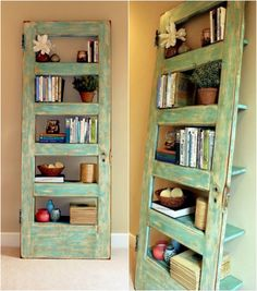 Old door repurposed into bookshelf - 11 Great Ideas for Repurposed Doors & Old panel door turned into shelf. Would be cool instead of night ...