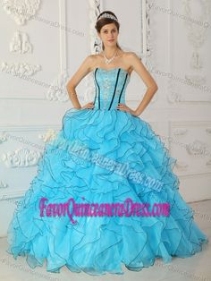 Baby Blue Strapless Organza Quinceanera Dress with Appliques and Ruffles