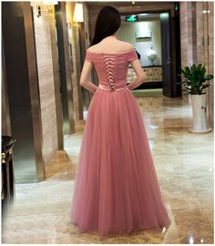 Off Shoulder Dusty Pink Gowns,Long Formal Dresses, Lace-up Prom Dresses 2018 · OKProm · Online Store Powered by Storenvy Junior Party Dresses, Prom Dresses 2018, Formal Evening Dresses, Party Gowns, Elegant Dresses, Prom Party, Evening Gowns, Maxi Dresses, Short Sleeve Prom Dresses