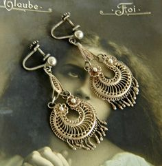 Antique Victorian Gypsy Creole Earrings Sterling by LuvLockets