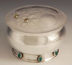 Guild of Handicraft Ltd.Silver Box with stones by Charles Robert Ashbee