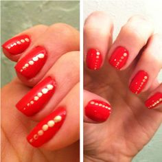 """Simple way to jazz up a manicure: Dip the tip of a bobby pin in a contrast color and lightly tap dots of polish using less pressure as you reach the tip of the nail. Seal with a topcoat. (Pictured: OPI """"Color So Hot It Berns"""" base and NARS """"Senryou"""" detail)"""