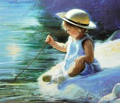 Painting by Donald Zolan First Day Of Summer, Summer Days, Artists For Kids, Painting For Kids, Children Painting, Photo Colour, Beautiful Children, Illustration, Creations