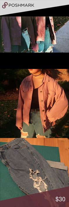 FOREVER 21 VERY RIPPED DENIM HI WAISTED JEANS Very loose, boyfriend distressed jeans. Rarely worn but good condition. Forever 21 Jeans Ankle & Cropped