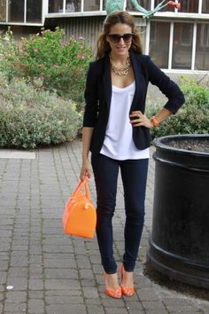 love the blazer layered over a simple, slouchy white tshirt and the orange peep toe shoes
