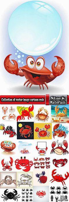 Collection of vector image cartoon crab sea dweller 25 EPS